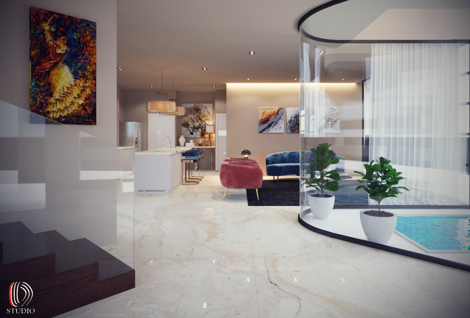 13-03-Villa Interior Salon and kitchen